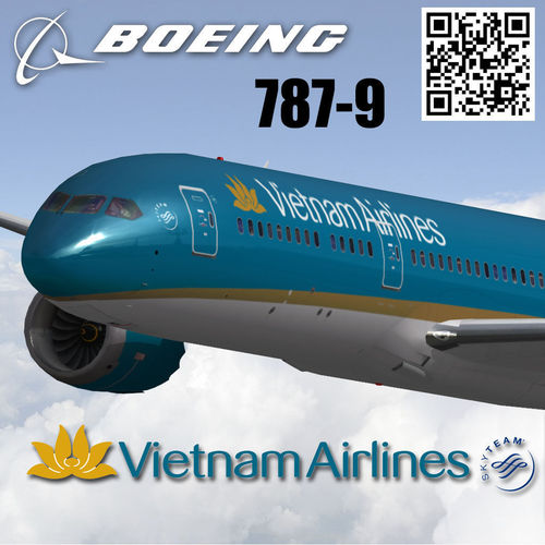 boeing 787-9 vietnam airlines livery 3d model low-poly max 3ds fbx 1