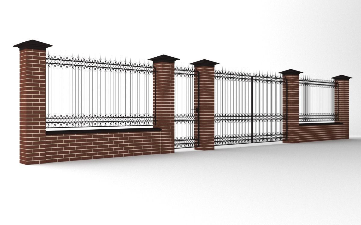 Modular wrought iron fence set