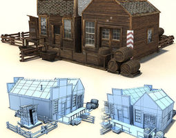 low poly wild west buildings 3d asset game-ready