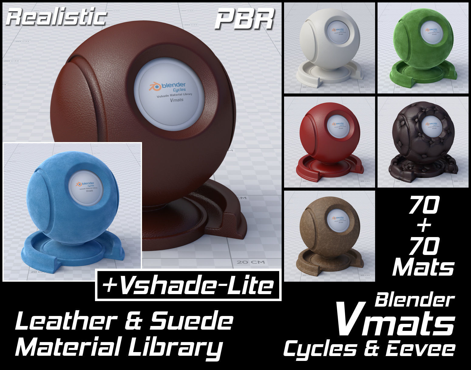 VMATS Leather and Suede Material Library for Cycles and Eevee