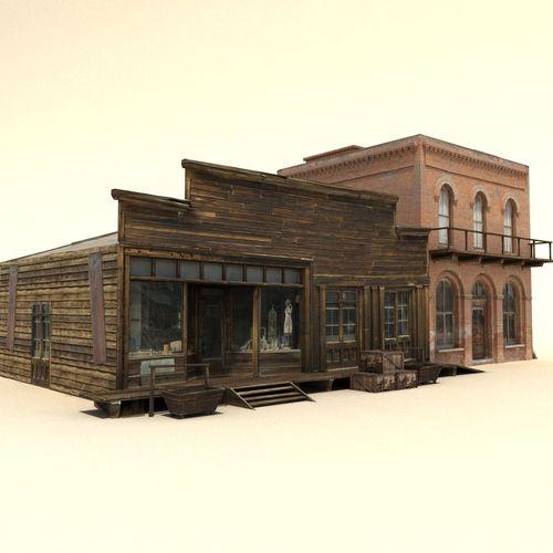 low poly wild west buildings2 3d model max obj mtl 3ds fbx 1