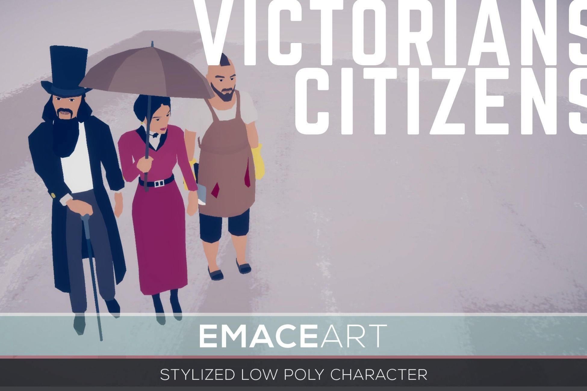 Victorian Citizens  3D Stylized Modular Low Poly Characters
