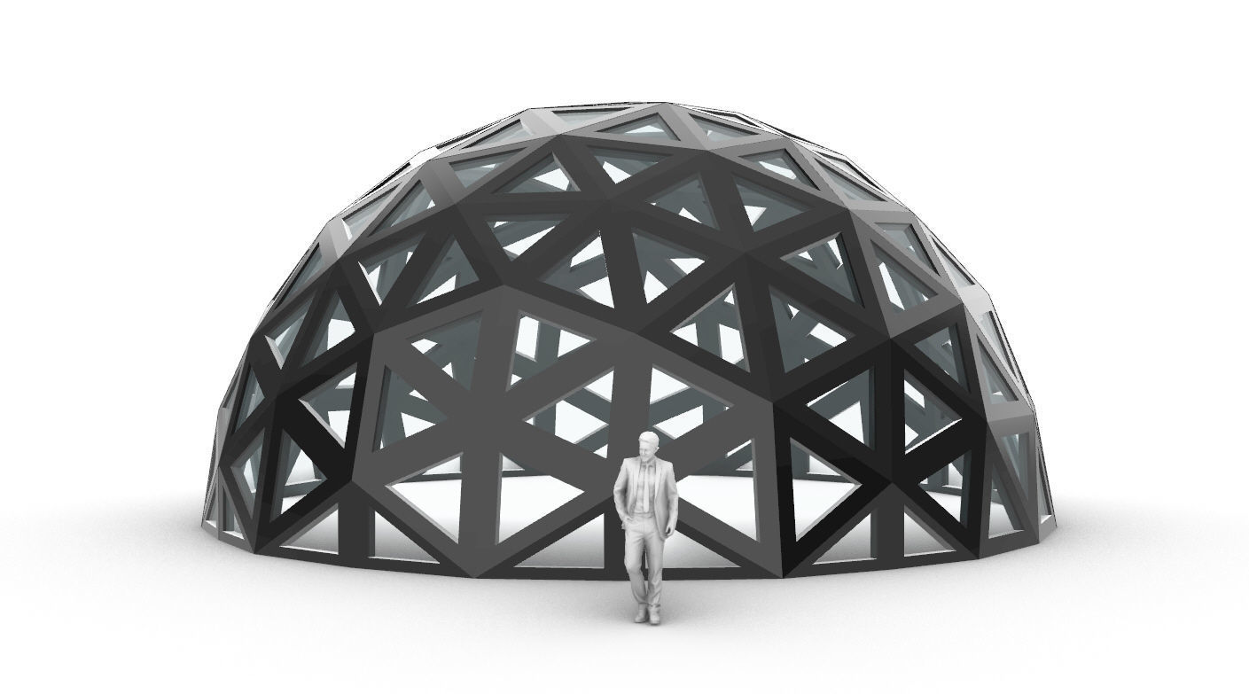 Geodesic Dome with Dynamic Perforations and glass panels