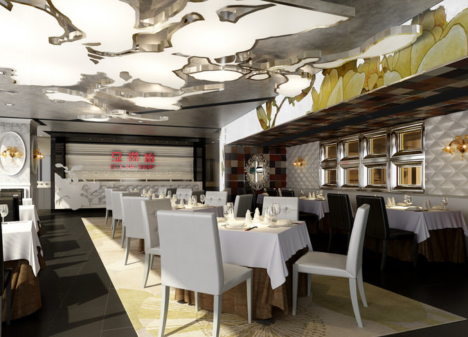 3d model restaurant interior designery cgtrader for Restaurant 3d max