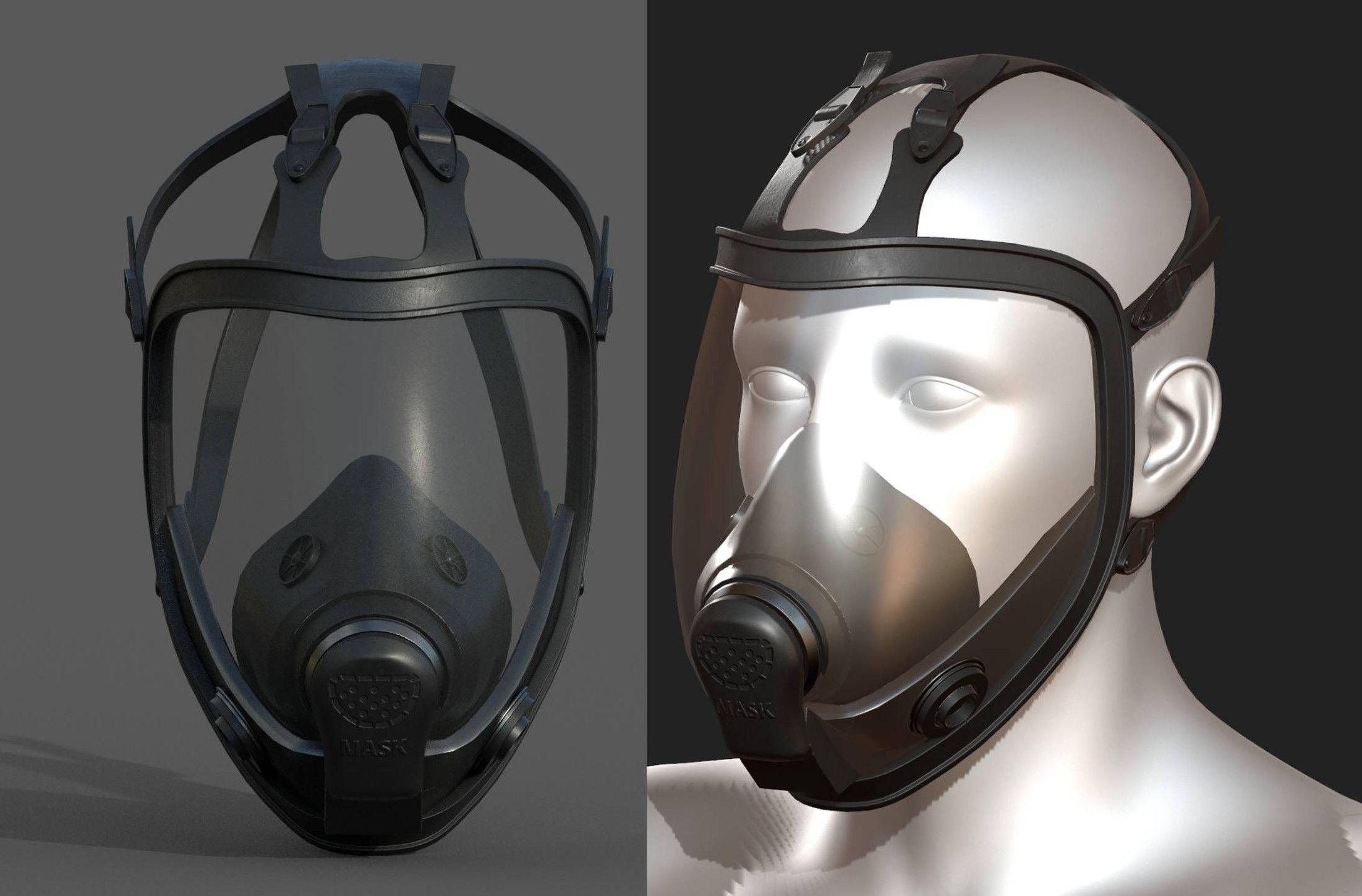 Gas mask black protection futuristic technology