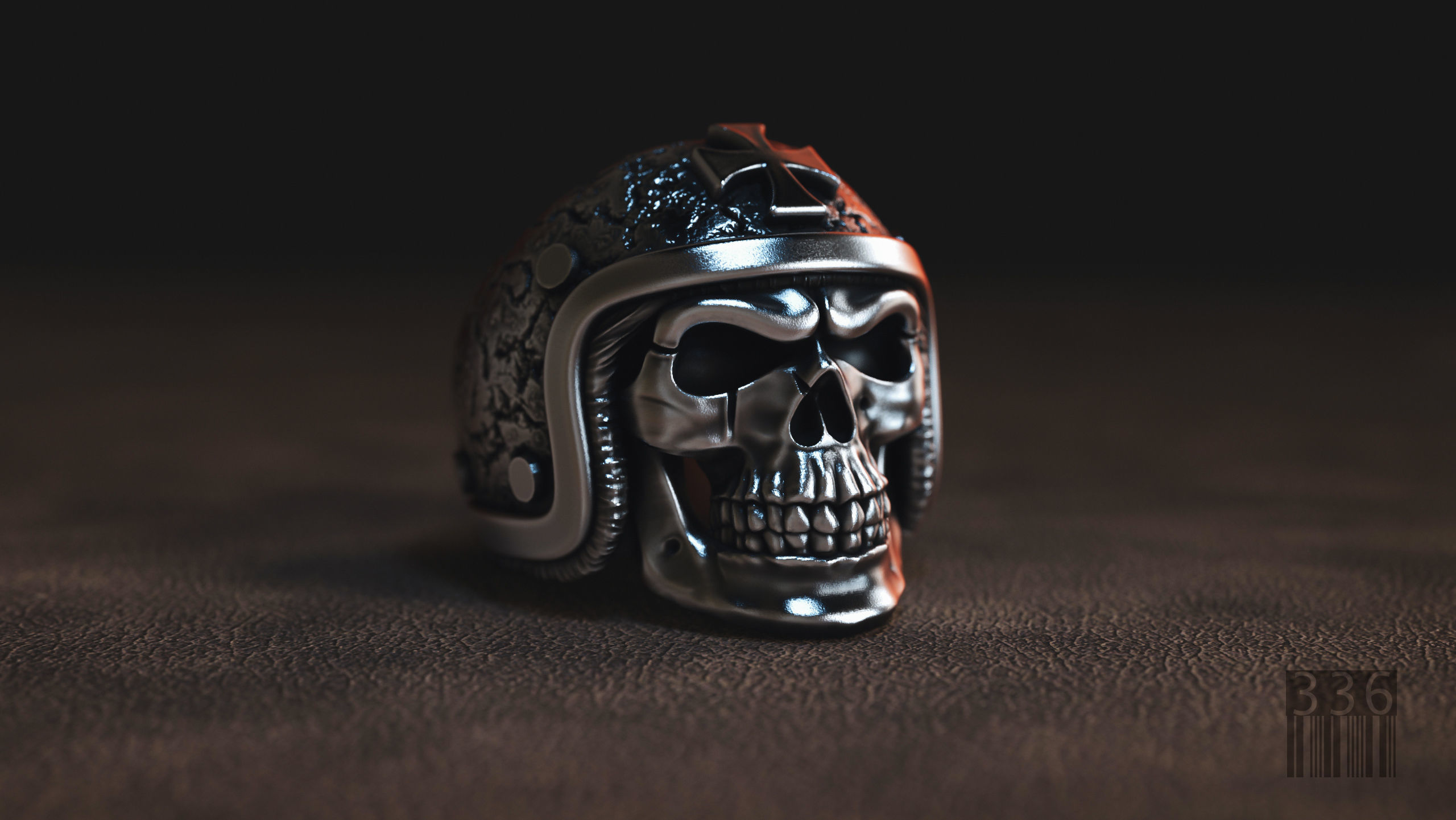 ring skull in a hard hat biker 3D model