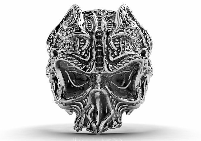 Gothic Skull Ring 3D Model For Printing Jewelry Ring - GP9