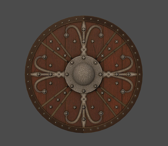 ornamented shield 3d model low-poly obj fbx mtl tga 1