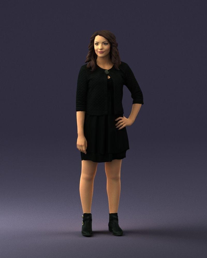 Woman in black dress 0192 3D Print Ready