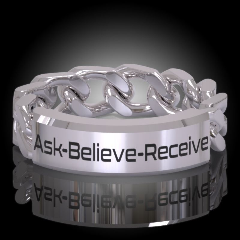 Law of Attraction Cuban Chain Ring - Ask - Believe - Receive