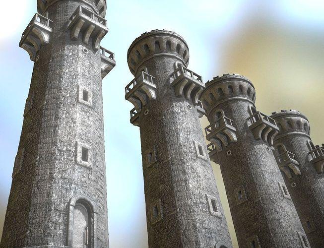 medieval guardtower 3d model low-poly obj 3ds fbx dxf stl blend 1