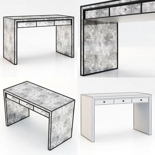 restoration hardware strand mirrored desk 3d model max obj 3ds fbx mtl 1