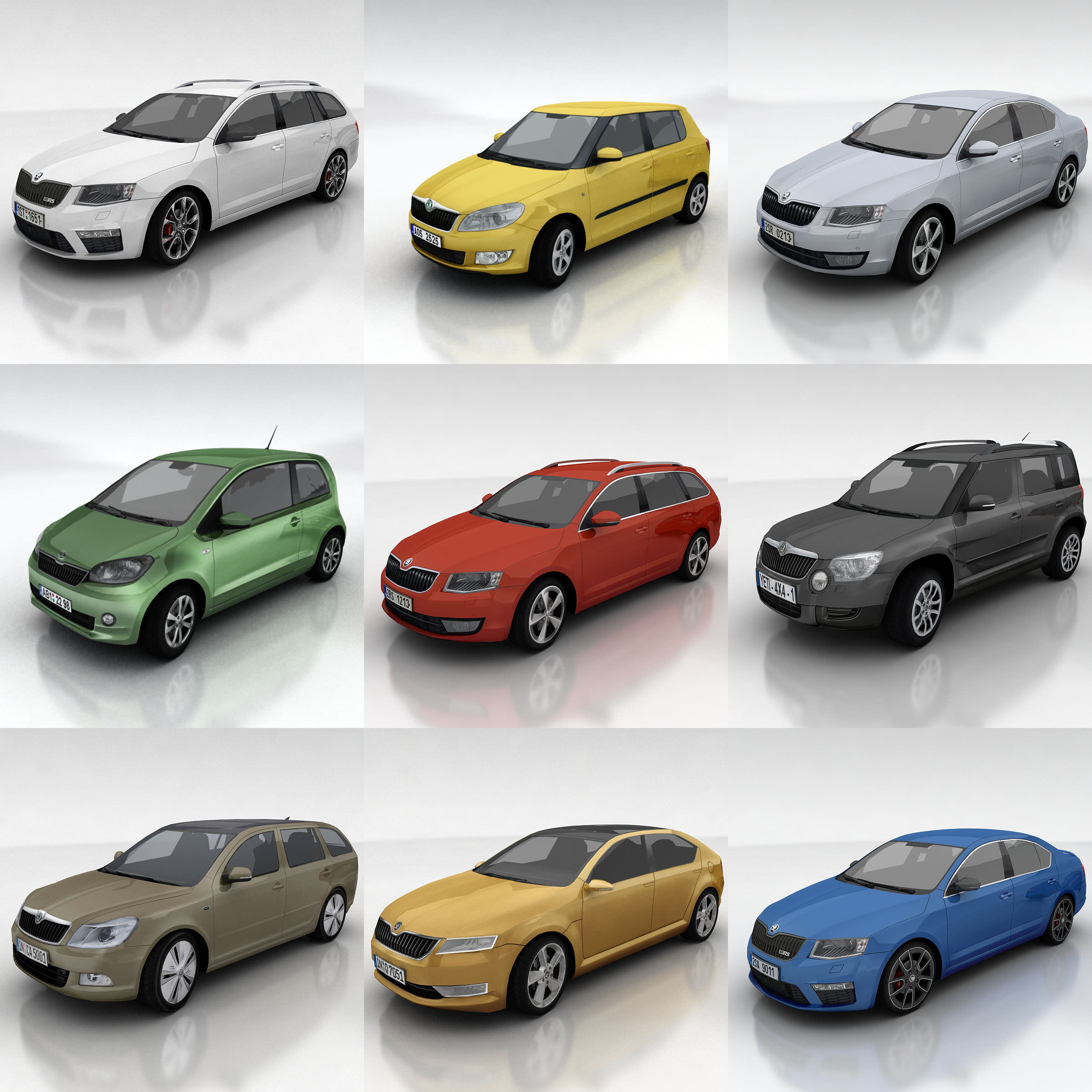 10 Skoda Cars Collection 3D Model Game Ready .max