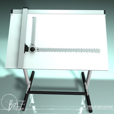 drafting table 01 3d model obj mtl 3ds c4d dxf 1