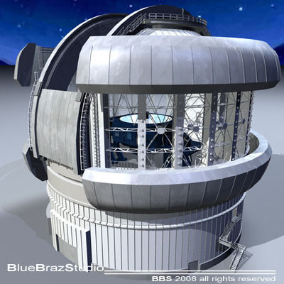 observatory with telescope 3d model 3ds c4d dxf 1