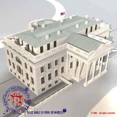white house 3d model obj 3ds fbx c4d dxf 1