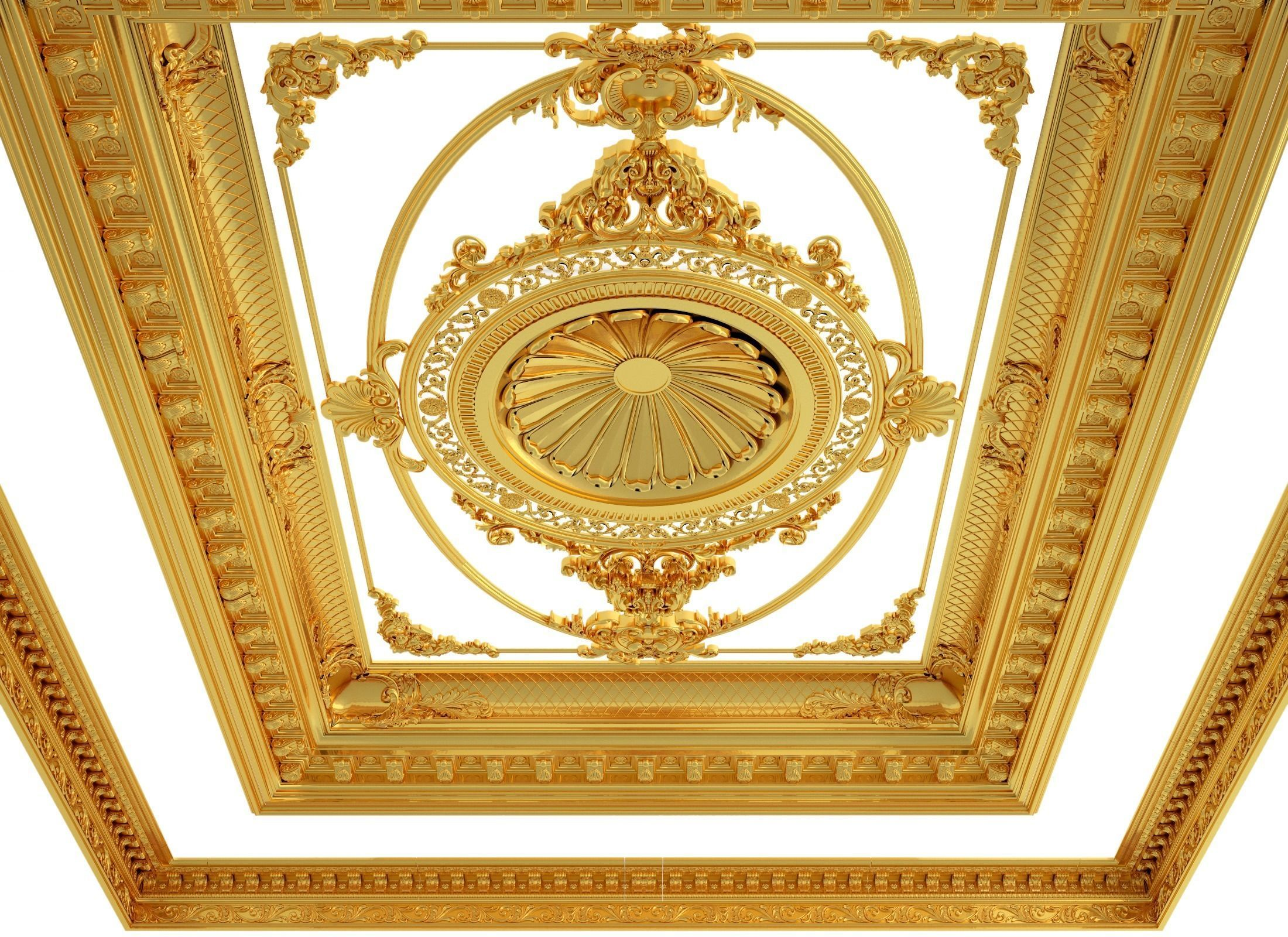 Classical wooden ceiling carved cnc 2020