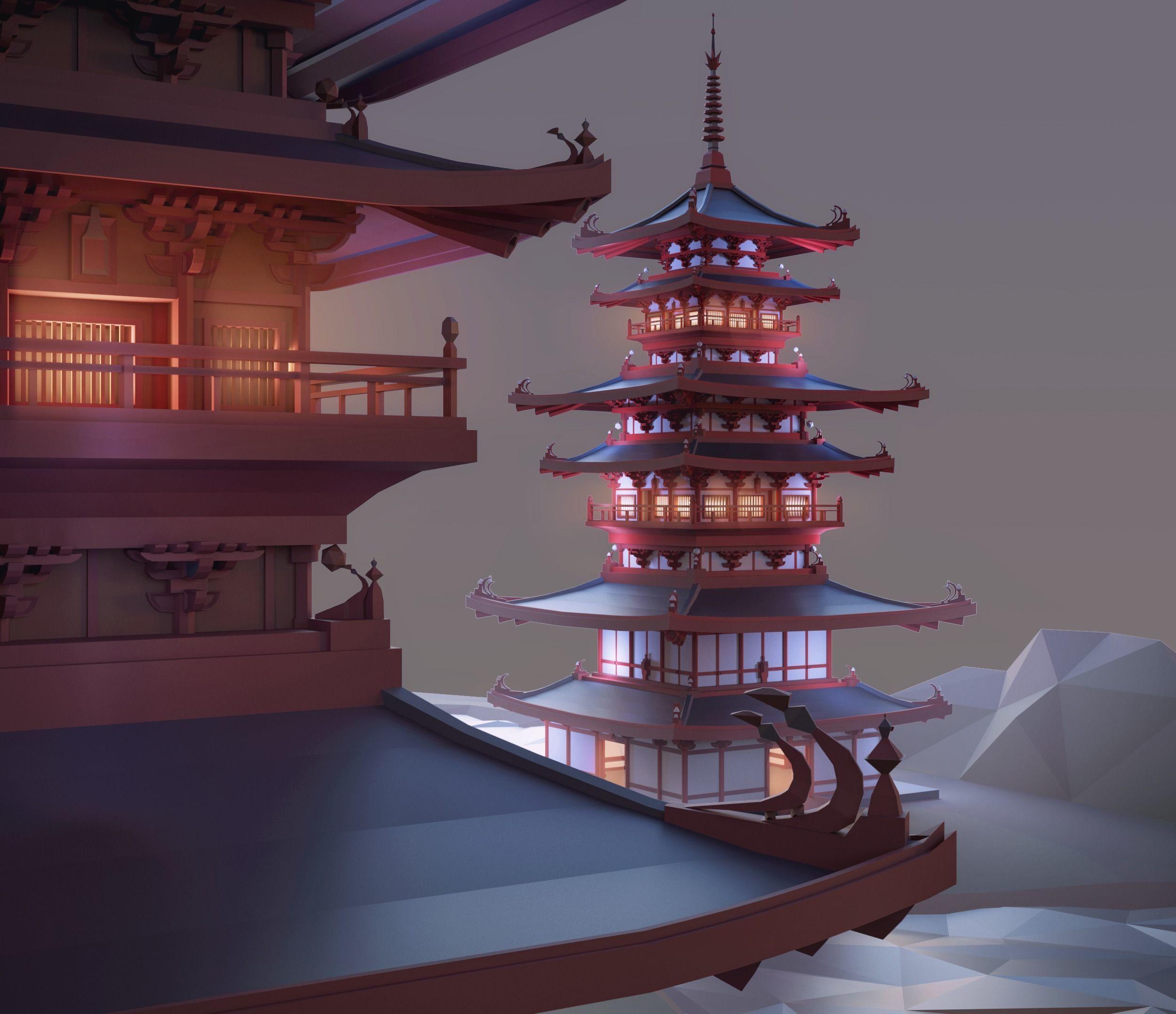 Pagoda Low Poly