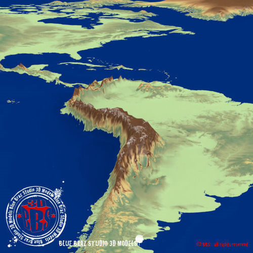 America Elevation Map North South Central Elevation Map 3d Model 3ds Dxf