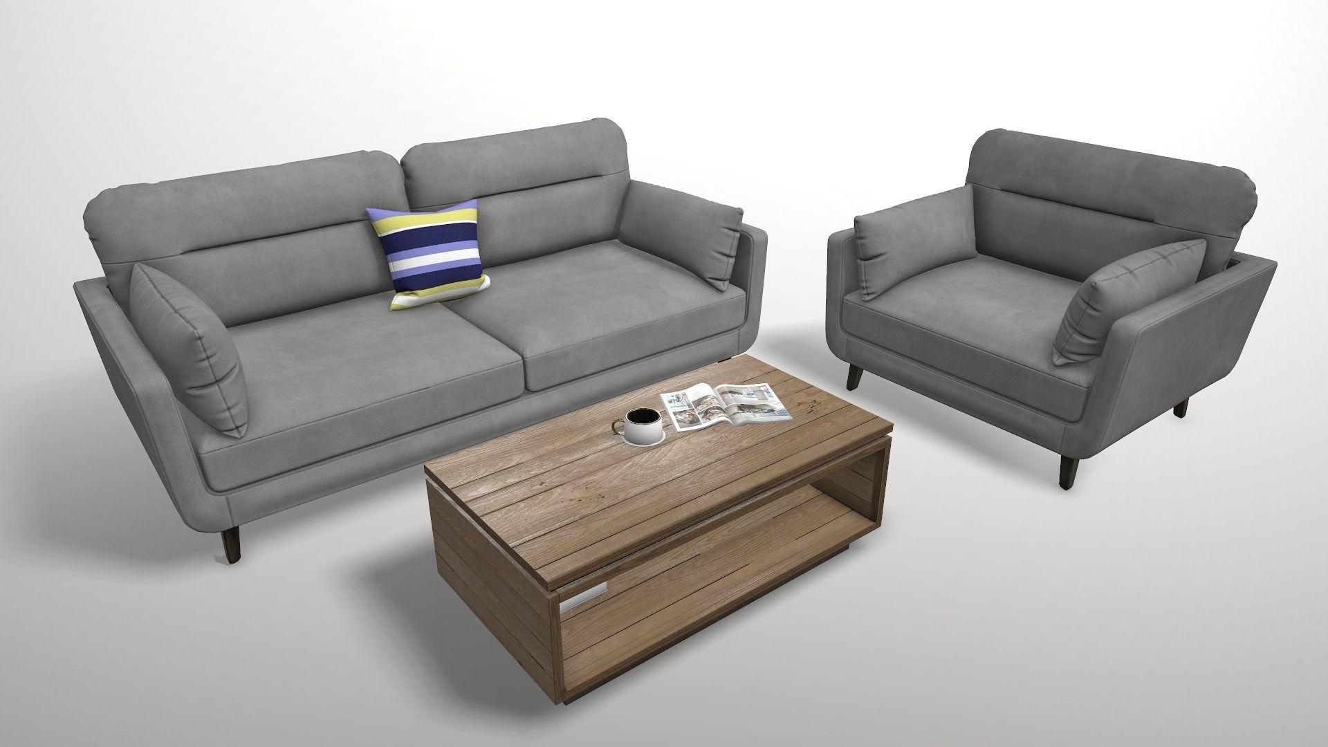 Modern Sofa Set 3D model low-poly | CGTrader