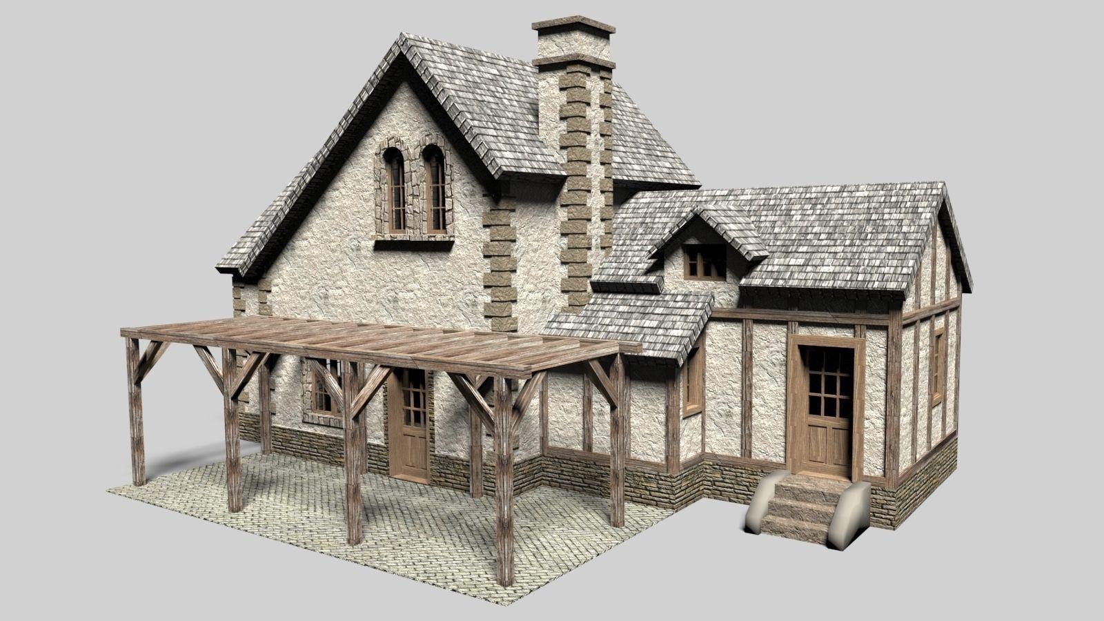 Old Cottage House 3d Model Obj 3ds Stl Skp Wrl Wrz 1