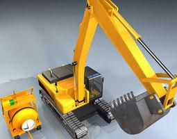 Excavator and concrete mixer 3D Model