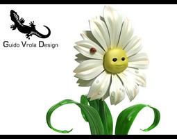 Cartoon Daisy 3D Model
