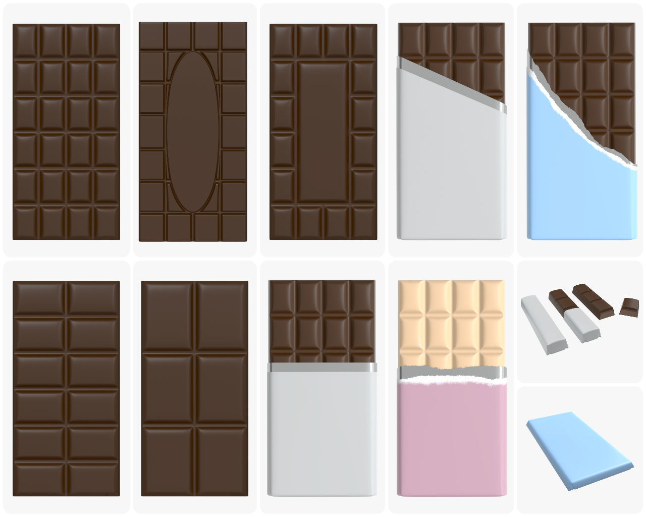 Chocolate bar packaging brown white mock up
