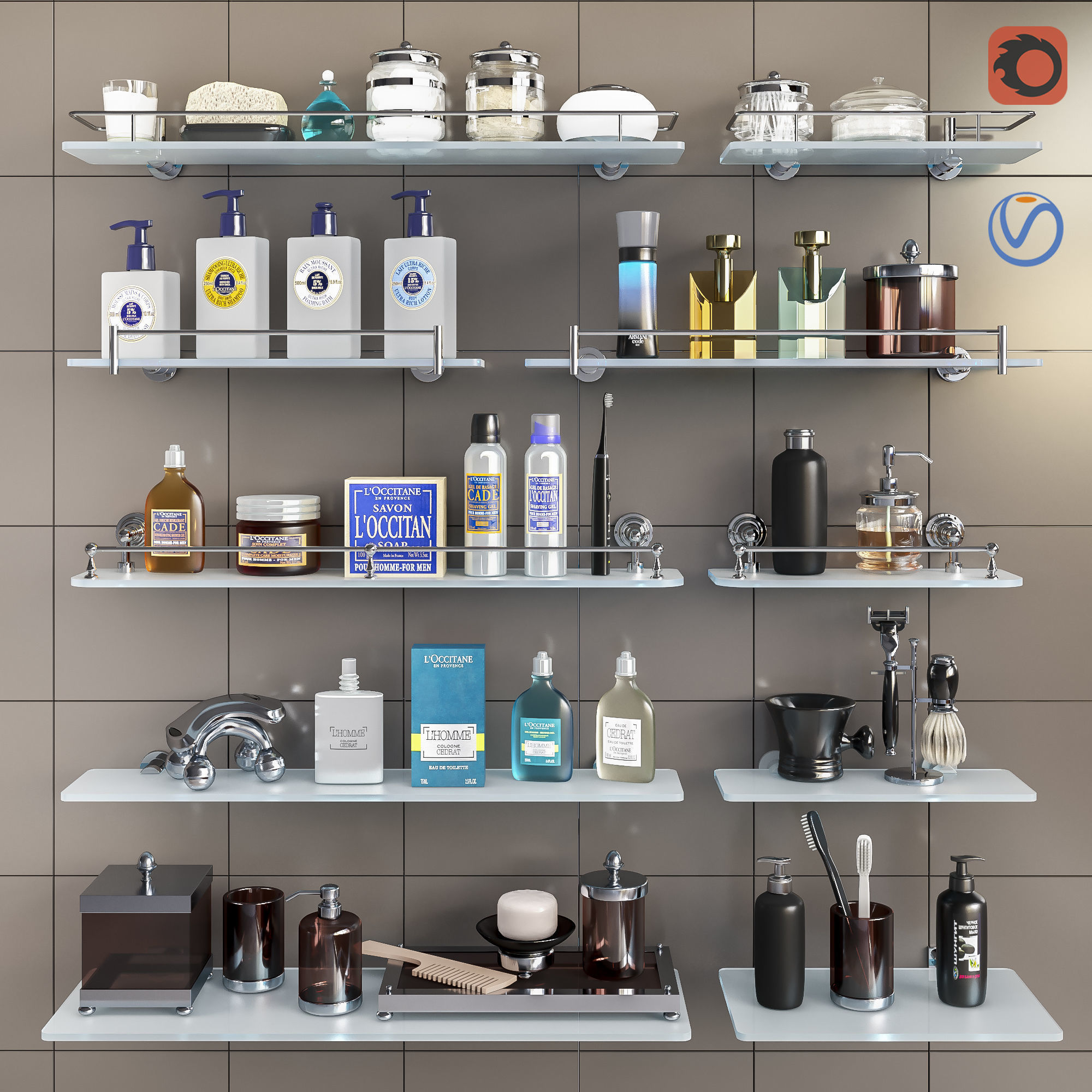 Set of cosmetics accessories and shelves for the bathroom set 3