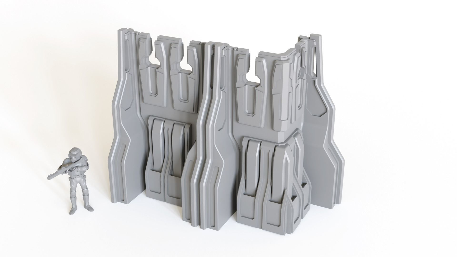 SciFi Ready-to-print Wall sections for tabletop gaming