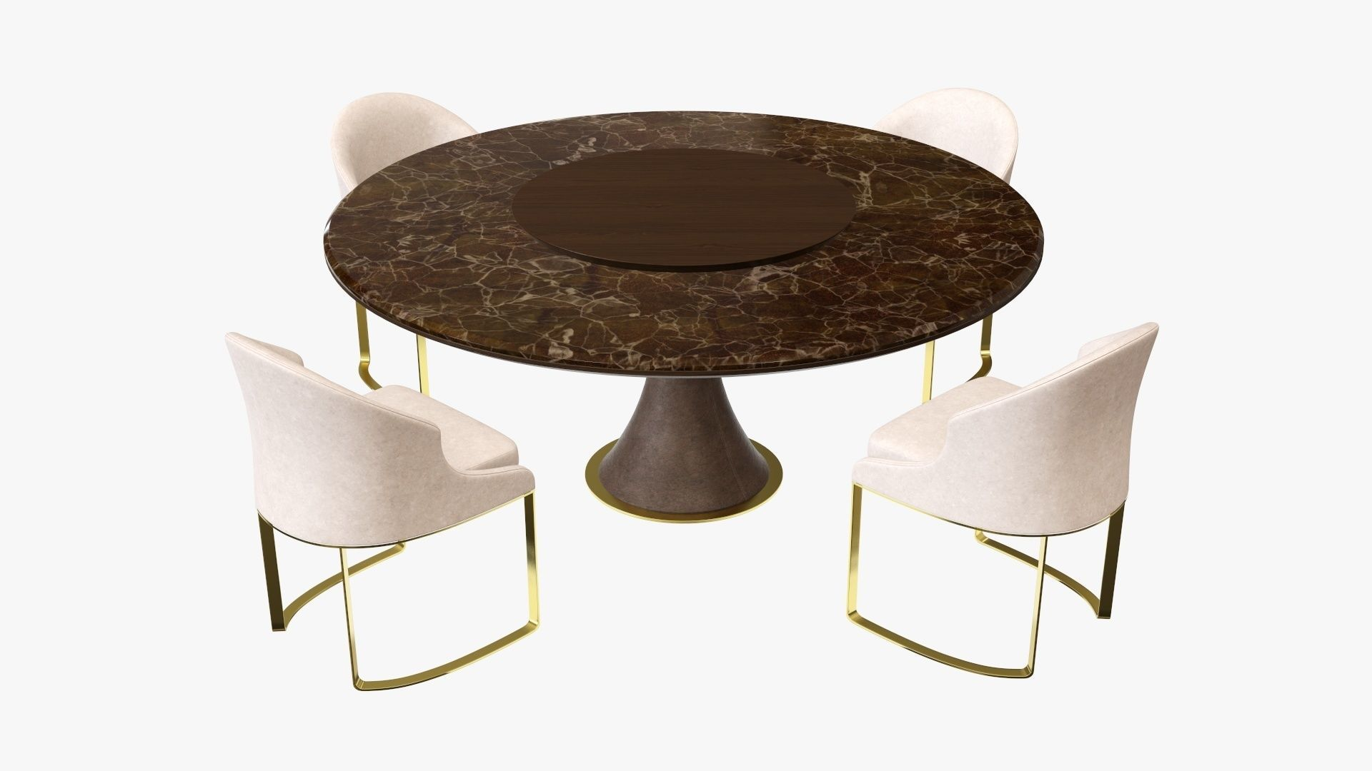 Dining table with marble top and modern chairs with gold legs
