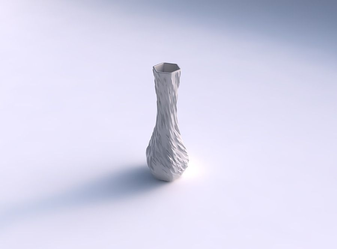 vase larger opening hexagon with twisted diagonal dents and b... 3d model max obj stl mtl 1