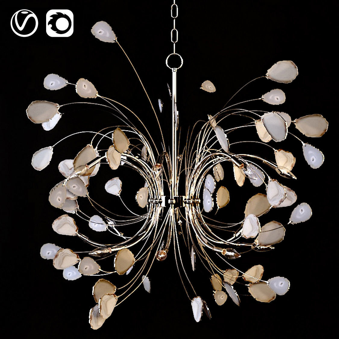 Agate and Nickel 16-Light Chandelier