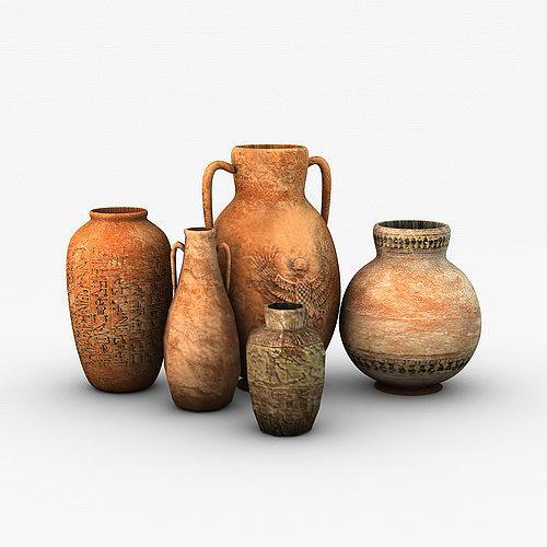 egyptian pottery collection 3d model low-poly max obj mtl 3ds fbx c4d tga 1