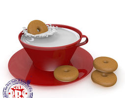 Cup of milk and cookies 3D model