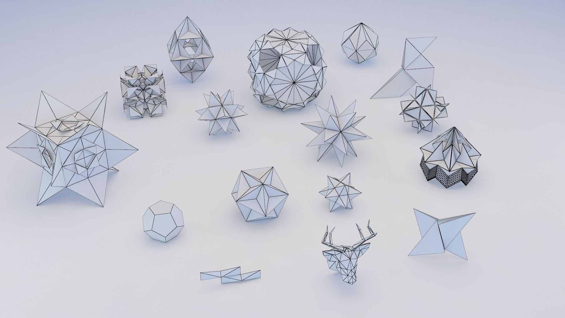 Origami Geometric 3D Model MAX OBJ 3DS FBX MTL | CGTrader.com - photo#6
