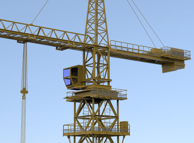 Tower Crane Engine : Tower crane d model obj cgtrader