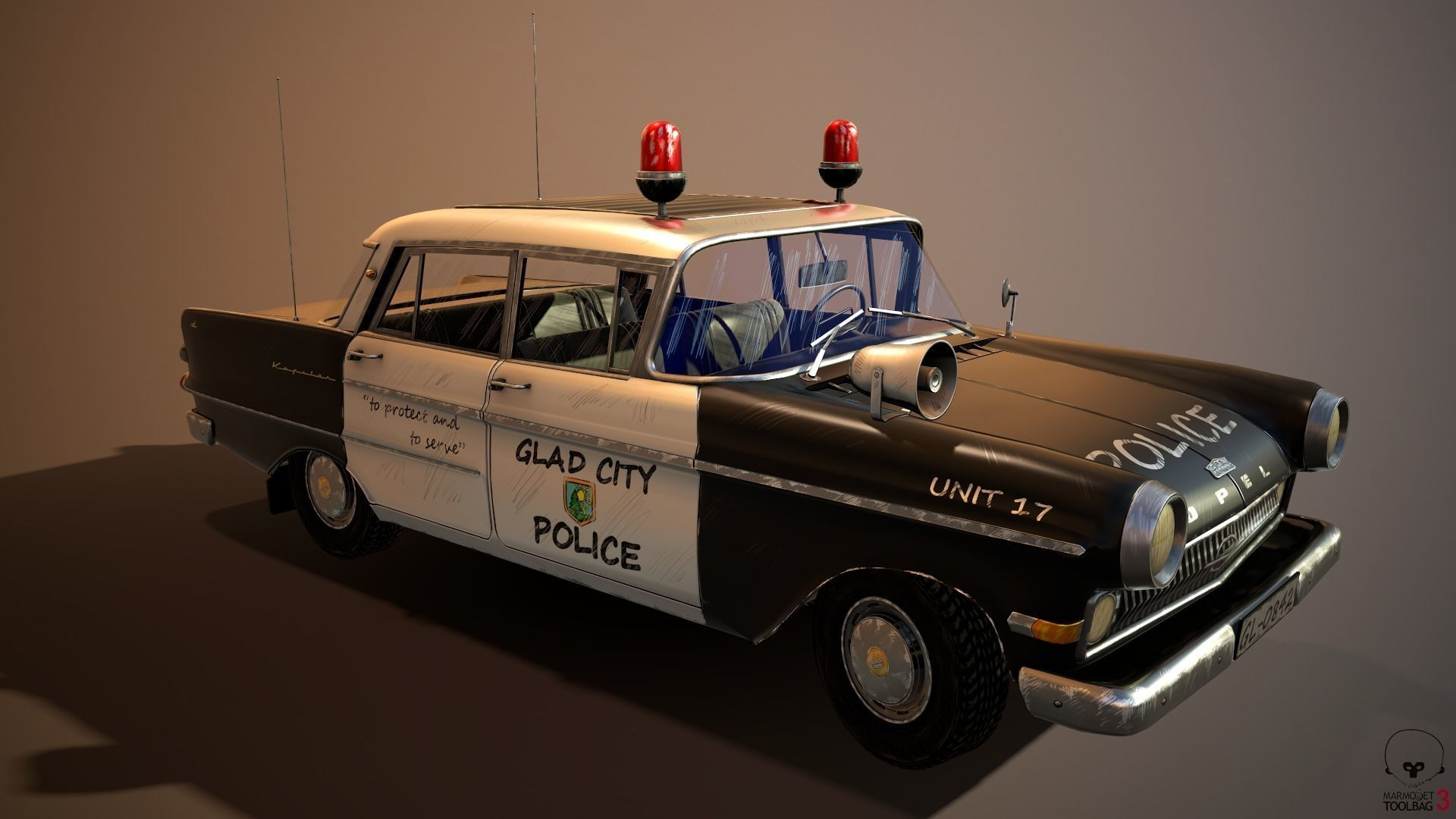 police car stylized