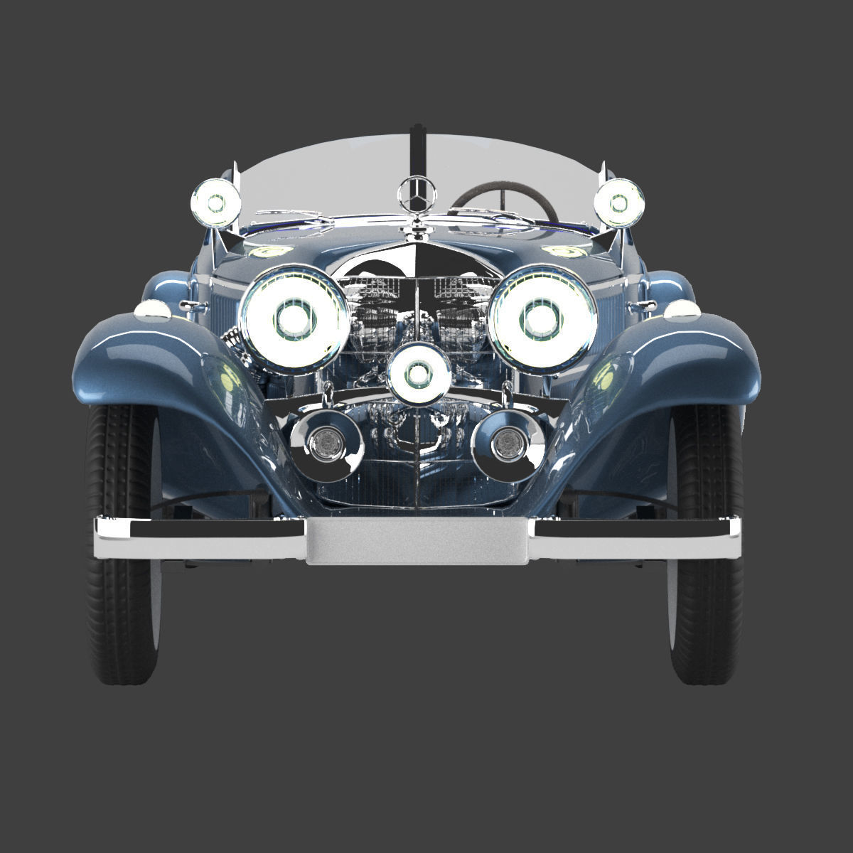 Mercedes 1938 540k blueprint with open top