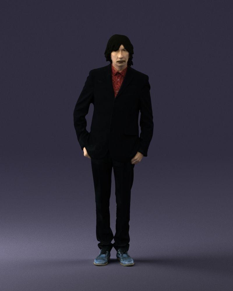 Mustachioed man in a black suit 0224
