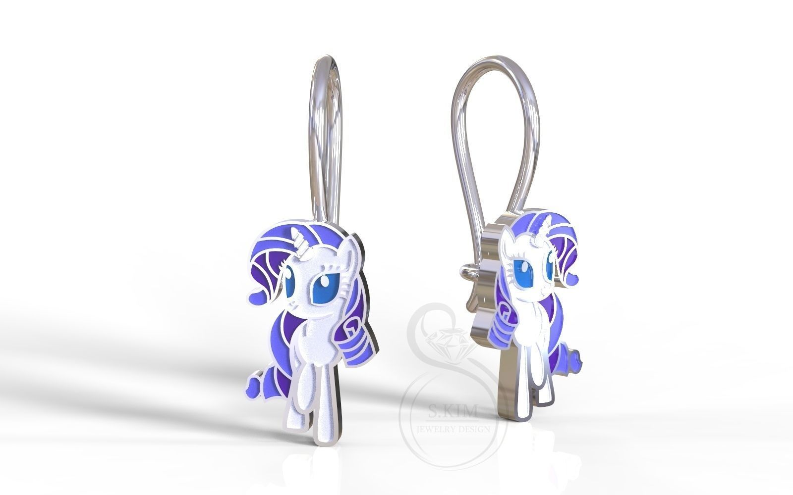 Rarity pony earrings
