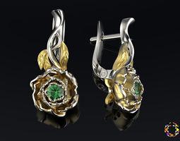 peony fashion earrings 0202 3d model obj fbx ma mb stl