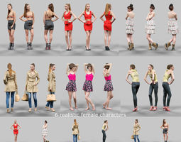 3d model realtime 6 realistic female characters vol 2