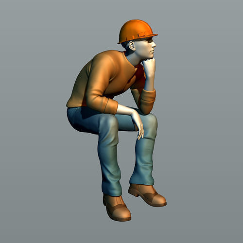 The builder sits on a beam 2