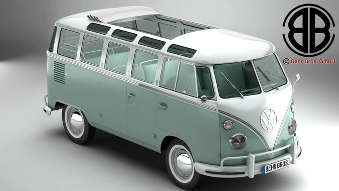 volkswagen type 2 samba 1963 3d model max obj mtl 3ds fbx c4d lwo lw lws 1