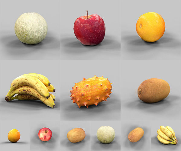6 fruits collection 3d model obj mtl 1 ... 07f449813