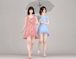 Natsumi and Mariko dress pose 02 3D