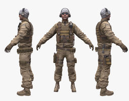 3d model soldier enginer low-poly