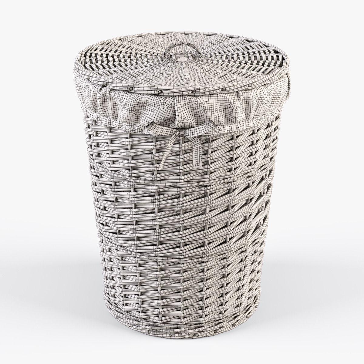 Wicker Laundry Basket 03 White Color Model Max Obj Mtl Fbx 7