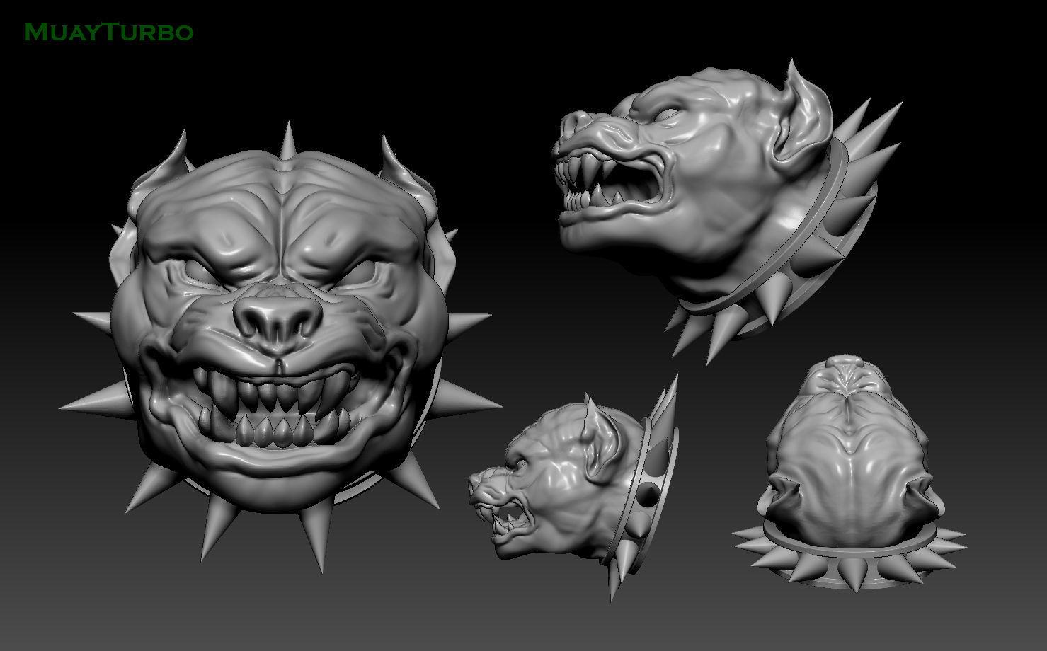 head Pitbull  dog angry pendant 3D print model